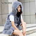 CX-G-B-89A Lattice Pattern Heavy Grey Lamb Fur And Fox Fur Vest With Hat