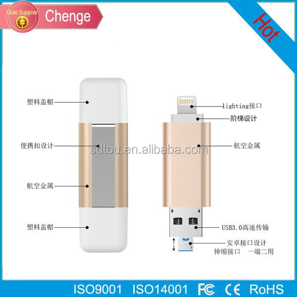 8gb 16gb 32gb 64gb 128gb otg micro usb flash drives fast speed 3 in 1 OTG USB flash drives for iPhone6/6s