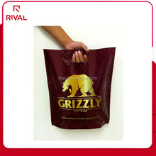 cheap printed LDPE plastic patch handle folding shopping carry bag
