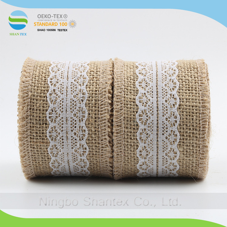 Decorative Natural Jute Burlap Ribbon with Lace for Bride Holding Flower Decoration