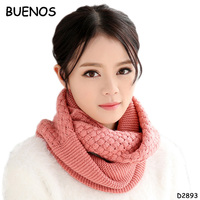 New Fashion Ladies Knitted Solid Warm Woolen Ring Neck Winter Scarves