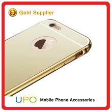 [UPO] Hot Selling phone accessories Ultra- thin Shockproof Aluminum Metal Bumper Mirror Cover for iphone 6, PC Back Cover
