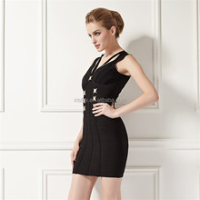 Latest Firm Stretch Bandage Fabric Bodycon Black Dresses For Women
