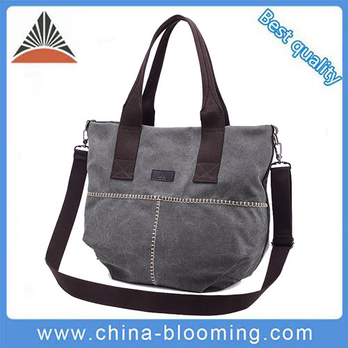 Ladies Outdoor Adjustable Shoulder Top Webbing Handles Custom Canvas Tote Bag For Women