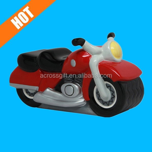 7inch color glazed painted ceramic motorcycle saving coin bank