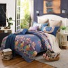 Dark Blue Flower Pattern Comforter Set With Cotton Pillow Cover