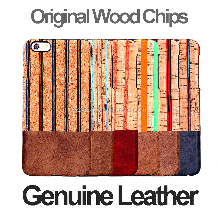 Original Wood Chips Genuine Leather Hard PC Phone Back Cover Case for Iphone 6 Plus 6plus case for iphone 6s