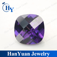 China Cushion Cut Dark Amethyst CZ Semi Precious Stone