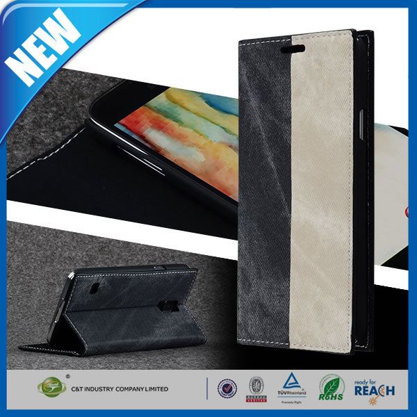 C&T New Arrival Wallet flip leather case for samsung galaxy note 4