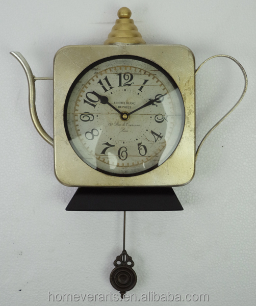Metal antique silver teapot wall clock with pendulum