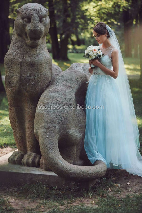 Simple Beach wedding gowns Tulle with beaded sash Lace bridal Gowns sky blue Wedding Dress 2015 (BLUE-1030)