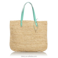 Lelany woven straw weaving tote bag with leather handle women shopping bag