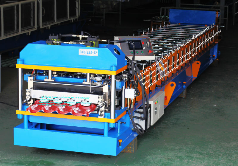Tile Roof roll forming machine for punched height up to 25mm to help steel tile sheets strong and sharp as real tile
