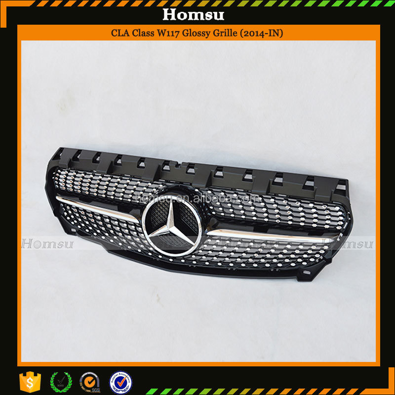 Car Styling car parts ABS Material Glossy Black Starry Style Front Bumper Grille for Merc (2014-In)CLA Class <strong>W117</strong>
