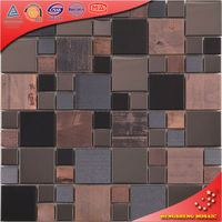 brown and black rust glass mosaic pattern swimming pool stainless steel blend glass mosaic tiles granite kitchen tiles SA38