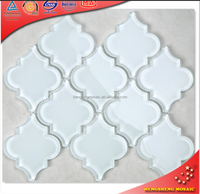 HSD203 Super White Arabesque Glass Corrugated Roof Tile Pvc&Plastic Floor Tile Water Jet Glass Mosaic