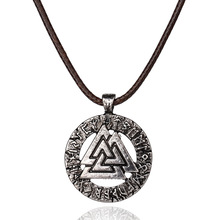 Retro Ethnic Slavic Viking Norway pendant Necklace With Leather Chain For Women Men Gothic Symbol Valknut Gravity Falls Jewelry