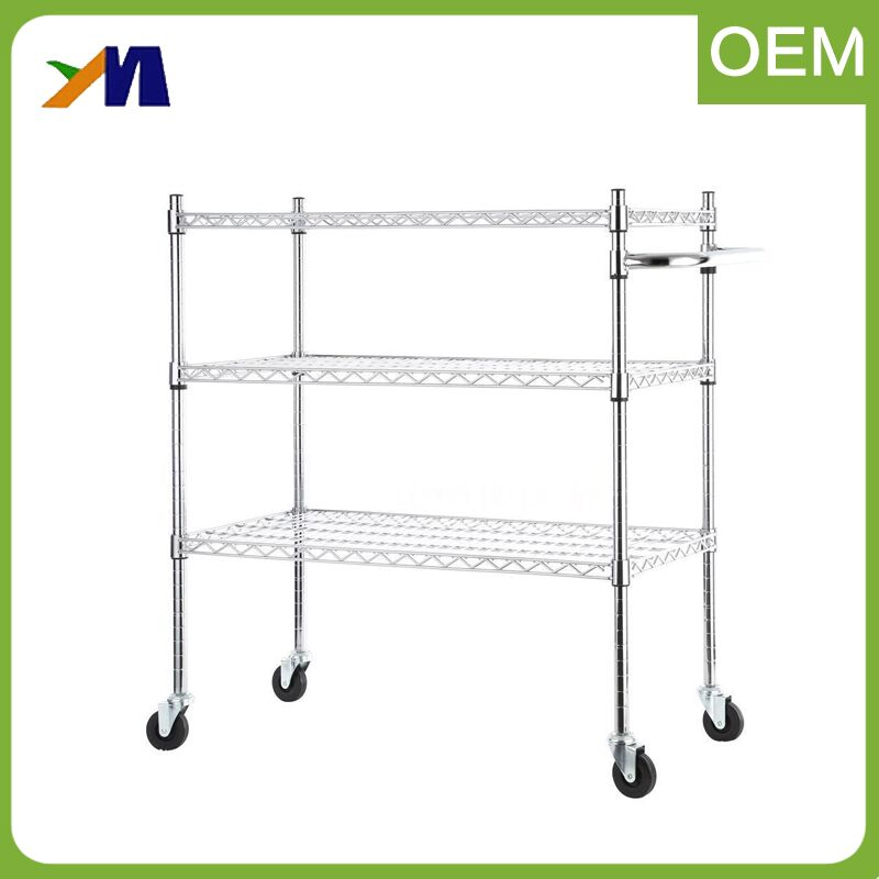 3 Tier Shelf Utility Stainless Steel Stand Kitchen Trolley Rolling Cart Storage