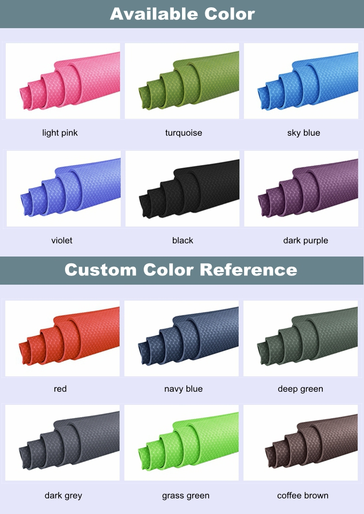 Wholesale new fashion solid color tpe yoga mats 8mm thick
