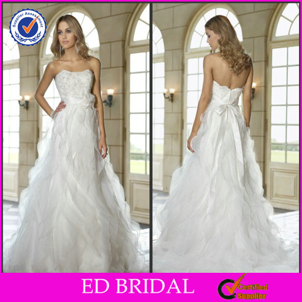 EDW207 Attractive Pearl Bodice Ruffle Organza Gown Strapless Japanese Style Wedding Dresses