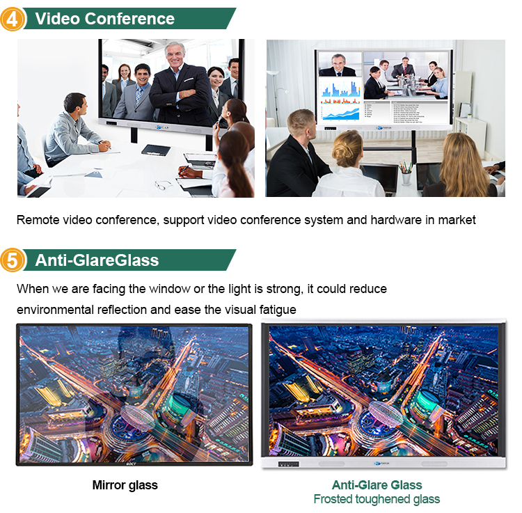 75 inch intelligent flat panel interactive touch screen monitor for business meeting