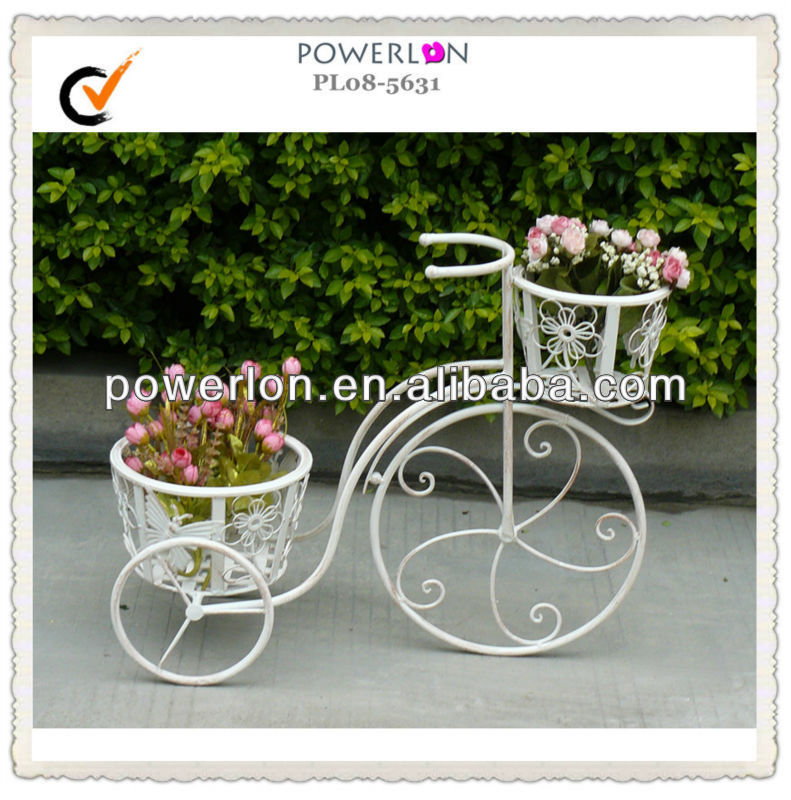 French Antique White Iron Flower Pot Holder With Wheels