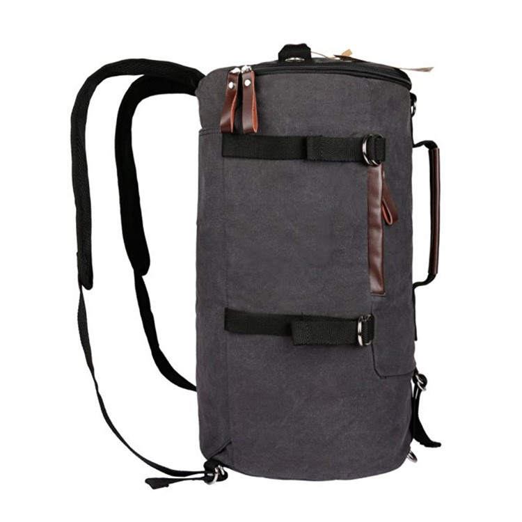 Cylinder canvas backpack army bag tactical military duffel travel bag