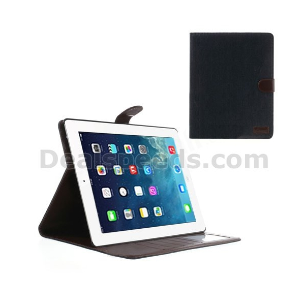 Jeans Cloth Skin Smart Stand Leather Case for iPad 4 3 2 w/ Card Slots