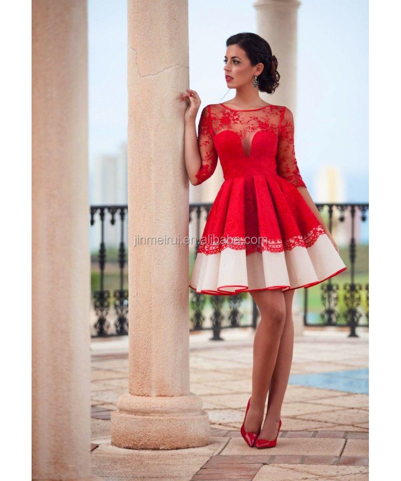 2016 Red Cocktail Dresses Scoop Neck A-line Vestidos De Fiesta Party Gown Lace Half Sleeves Robe de Cocktail Dress