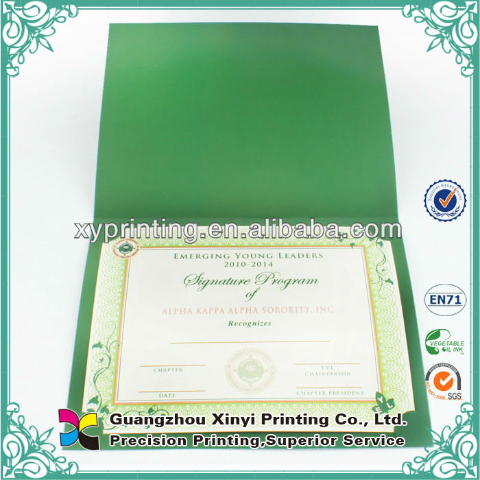 Factory price new design customized environmental printable funny certificates
