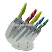 High quality 5pcs soft handle non-stick coating colourful kitchen knife set