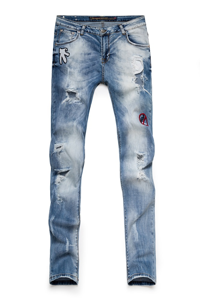 Destroy wash fashion women embroidered damaged ladies jeans with designs on legs