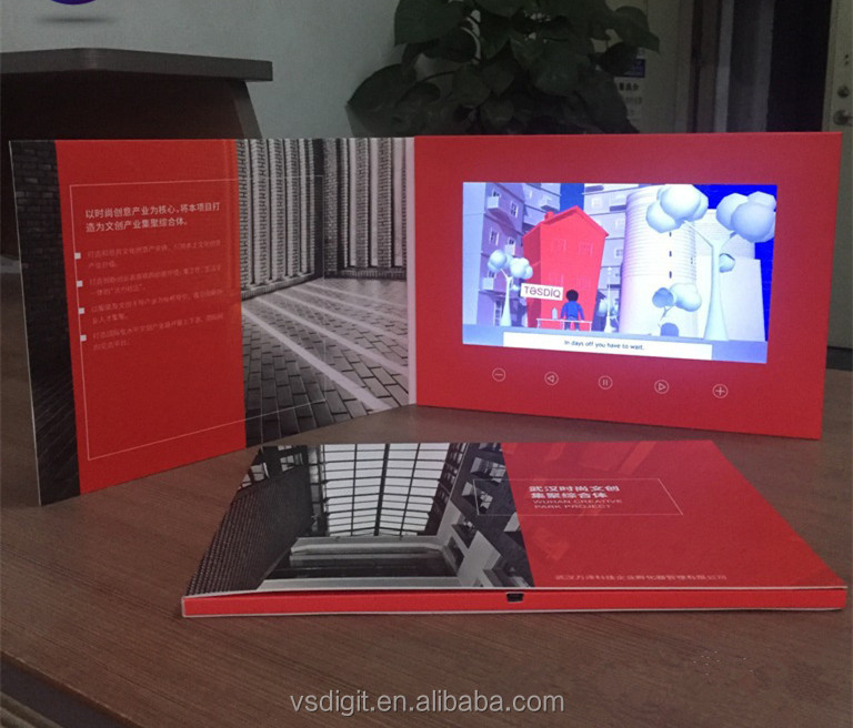 Custom A4 10 inch Lcd Color Screen Video Brochures With Touch Screen