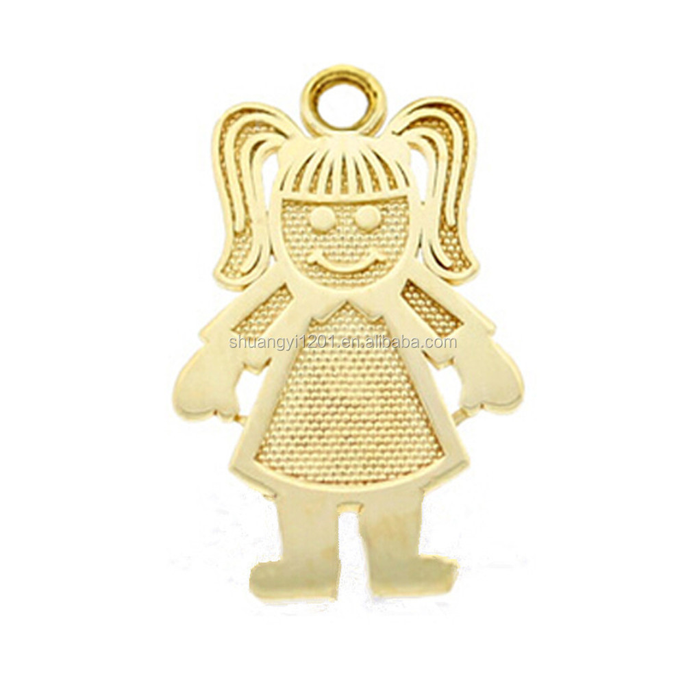 Wholesale Lots Cheap Alloy Silver/Gold Jewelry Making Accessories Fashion Outline Girl Figure Pendants