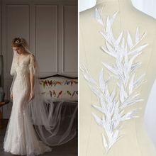 Iovry Leaf Embroidery Lace Applique ,Wedding Veil Lace Applique