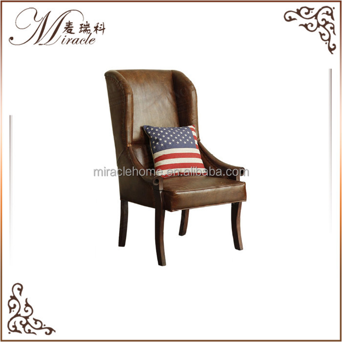 Living room modern leisure chair covered brown <strong>leather</strong> with pillow