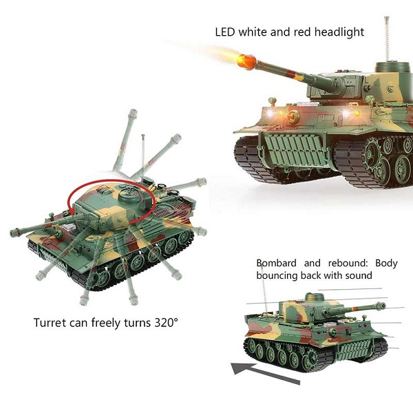 3828 1/26 Scale 27MHz Simulation German Tiger Panzer RC Battle Tank