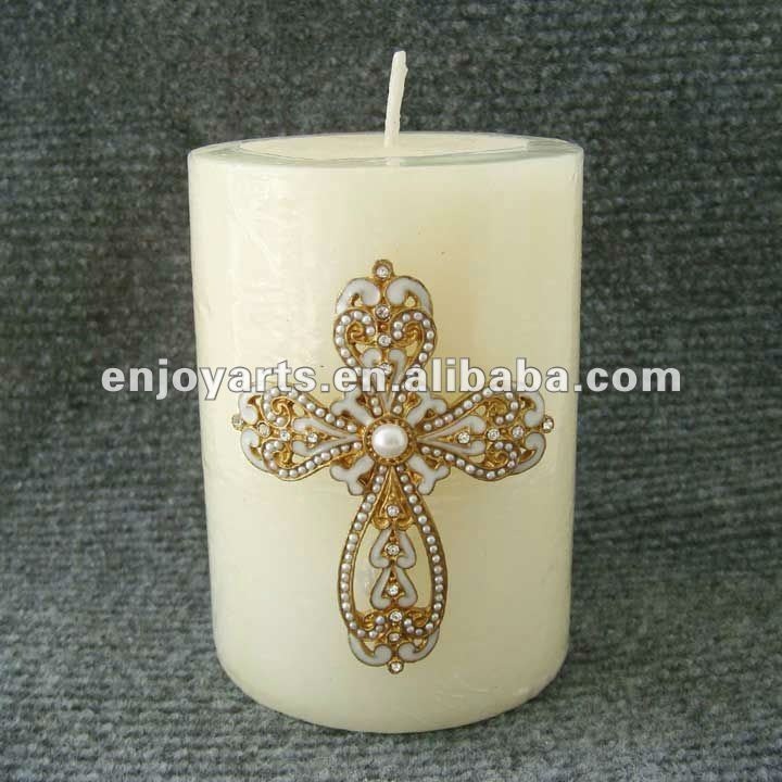 antique cross gold metal candle pin(P36001k)