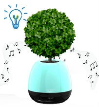 Good Christmas gift touching music led light up smart music flower pot with bluetooth speaker