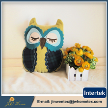 Wholesale owl shape fabric embroidery door stopper with sand bag,stuffed animal door stop