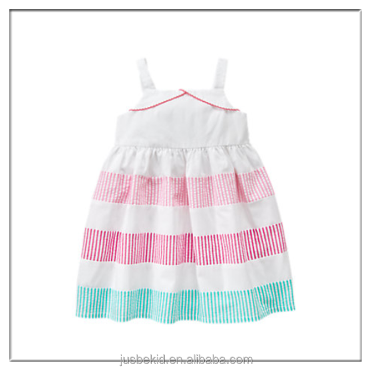 Fashion Children Clothing Without Sleeve Striped Printed Baby Girl Cotton Dress