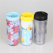 double wall clear acrylic plastic coffee tumbler with advertising removable paper insert, outdoor water drink cup