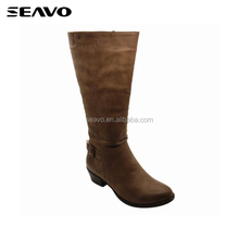 SEAVO AW18 plain no lace style brown soft moccasin pu upper ladies high heel long boots