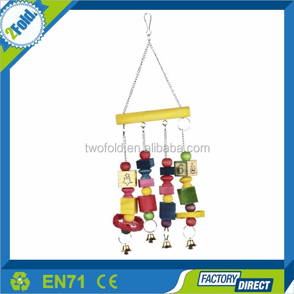OEM Customized Parrot Toy Pure Natural Colorful Bead Cage Parrot Chewing Pet Bird Toy
