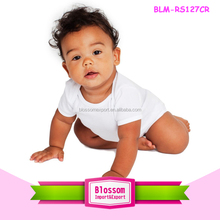 Infant Rib Short Sleeve One-Piece white romper cotton wholesale 0-24M baby bodysuit plain