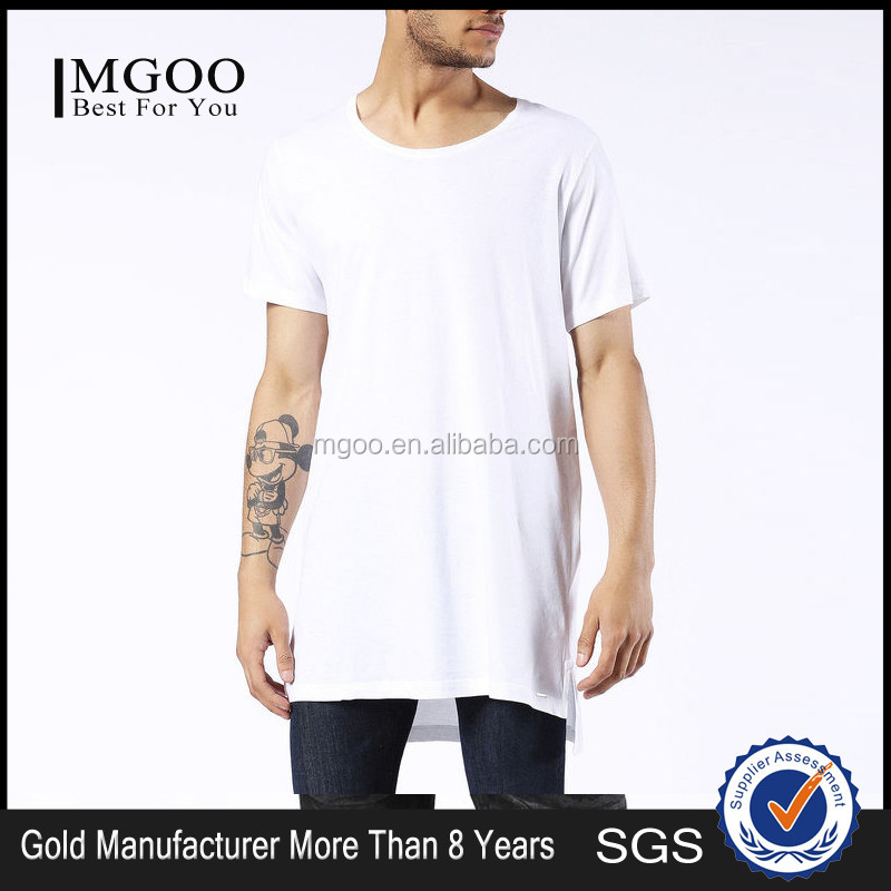 MGOO New Arrival Longline Oversized Mens T-shirt White Pima Cotton Shirts Short Sleeves Loose Tee Shirts