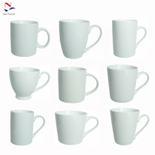 low MOQ wholesale different shapes white ceramic coffee mugs for printing W0020