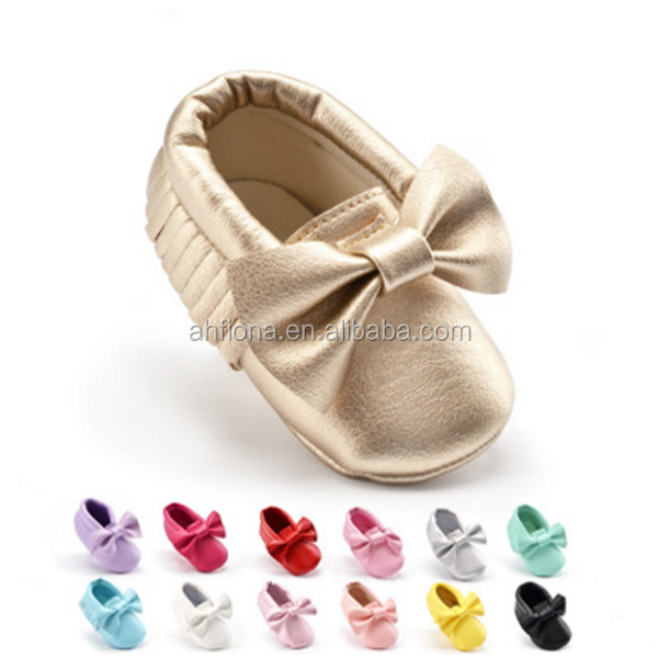 F10087E Baby girls' boutique shoes bowknot pattern design soft sole tassel baby shoes