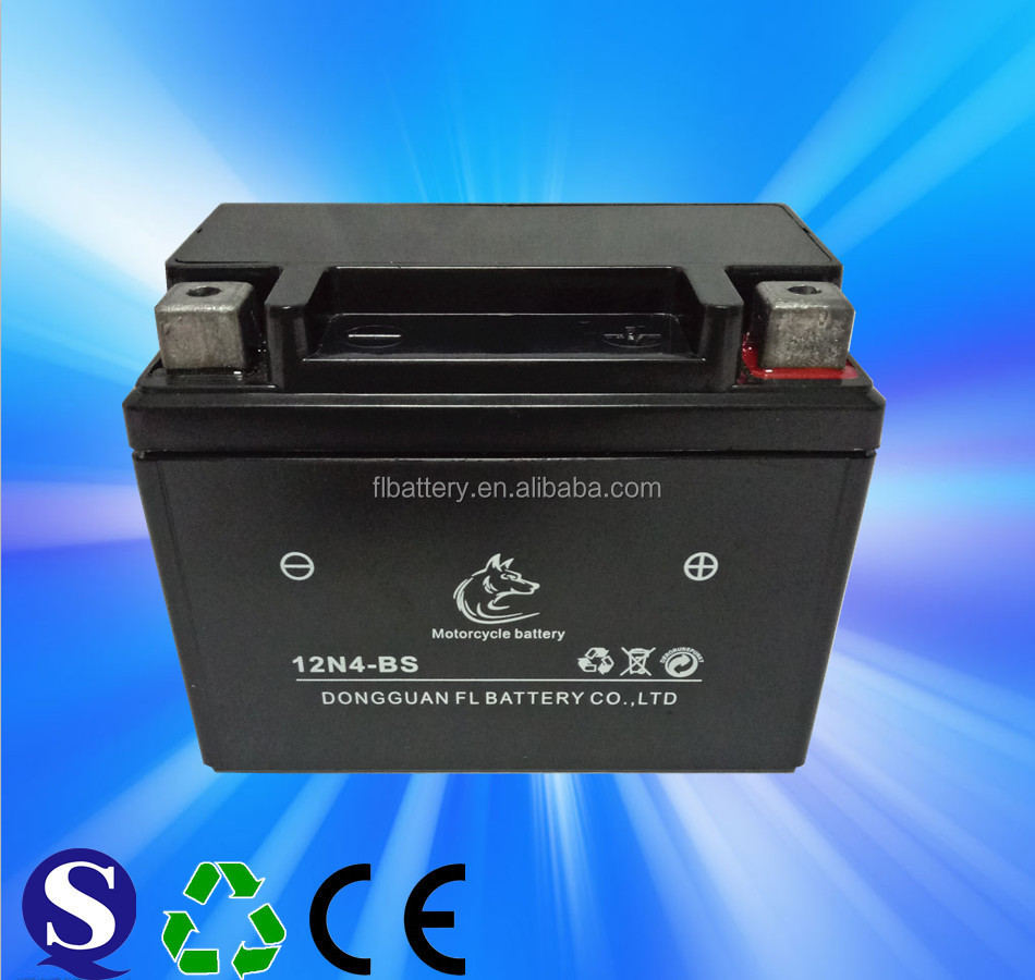 12N4 Dry Charged Motorcycle Battery with12V and 4Ah Capacity, Dimension113*70*88mm