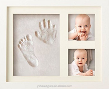 Vintage Baby Kids DIY Imprint Handprint Footprint Photo Picture Frame With Soft Clay Decoration Novelty Gift for baby